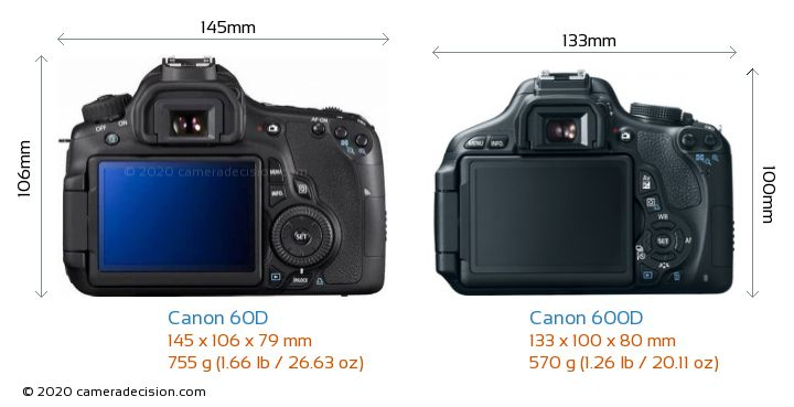 Canon 60D vs Canon 600D Camera Size Comparison - Back View