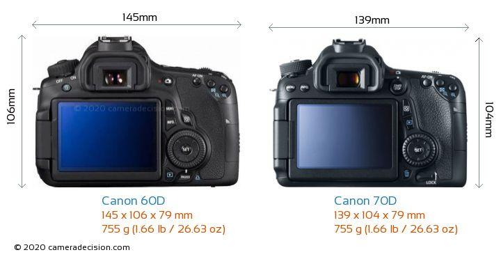 Canon 60D vs Canon 70D Camera Size Comparison - Back View