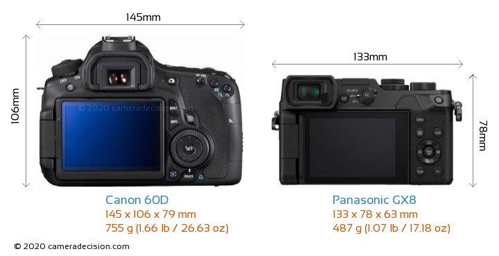 Canon 60D vs Panasonic GX8 Camera Size Comparison - Back View