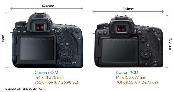 Canon 6D MII vs Canon 90D Camera Size Comparison - Back View
