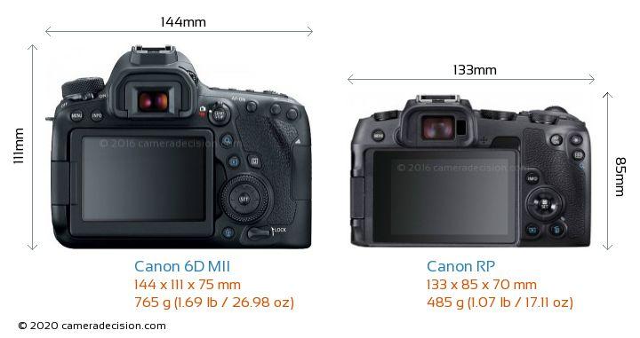 Canon 6D MII vs Canon RP Camera Size Comparison - Back View