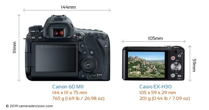 Canon 6D MII vs Casio EX-H30 Camera Size Comparison - Back View