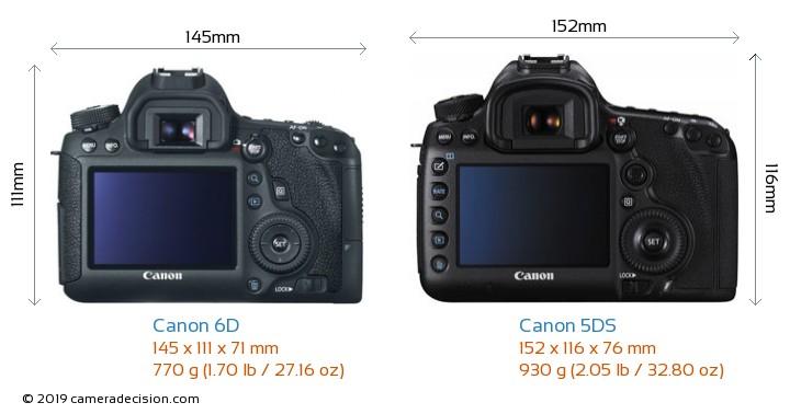 Canon 6D vs Canon 5DS Camera Size Comparison - Back View