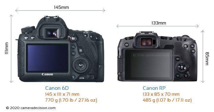 Canon 6D vs Canon RP Camera Size Comparison - Back View