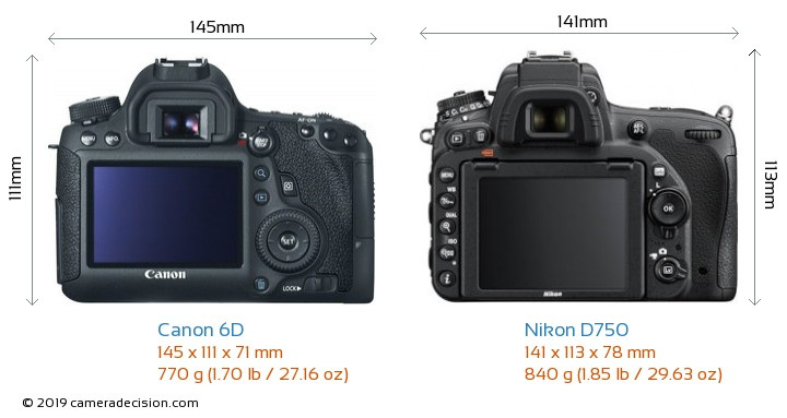 Canon 6D vs Nikon D750 Camera Size Comparison - Back View