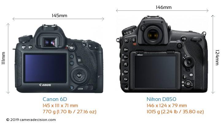 Canon 6D vs Nikon D850 Camera Size Comparison - Back View