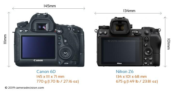 Canon 6D vs Nikon Z6 Camera Size Comparison - Back View