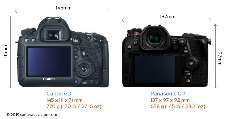 Canon 6D vs Panasonic G9 Camera Size Comparison - Back View