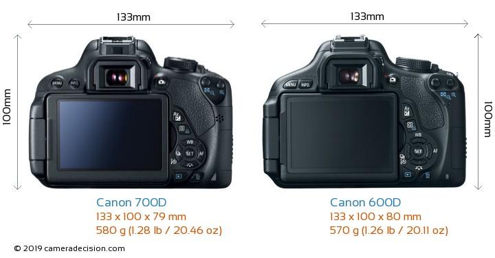 Canon 700D vs Canon 600D Camera Size Comparison - Back View