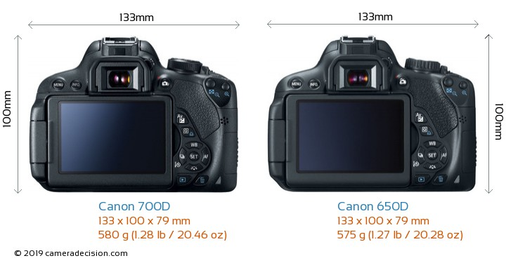 Canon 700D vs Canon 650D Camera Size Comparison - Back View