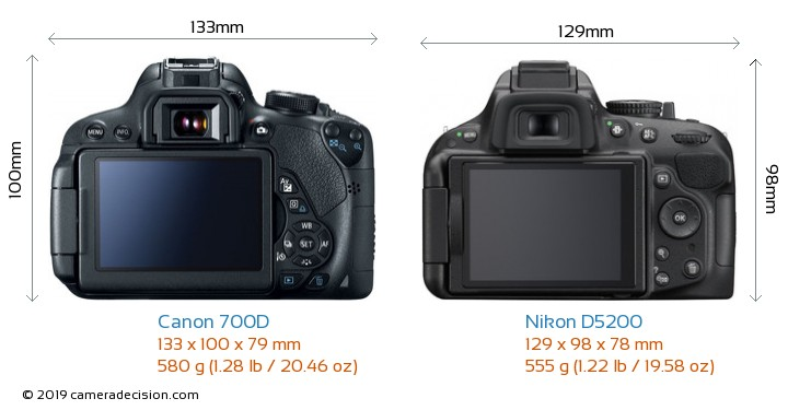 Canon 700D vs Nikon D5200 Camera Size Comparison - Back View