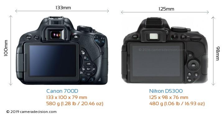 Canon 700D vs Nikon D5300 Camera Size Comparison - Back View