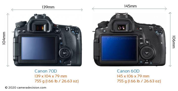 Canon 70D vs Canon 60D Camera Size Comparison - Back View