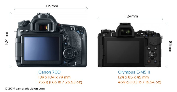 Canon 70D vs Olympus E-M5 II Camera Size Comparison - Back View