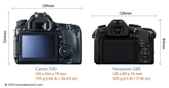 Canon 70D vs Panasonic G85 Camera Size Comparison - Back View