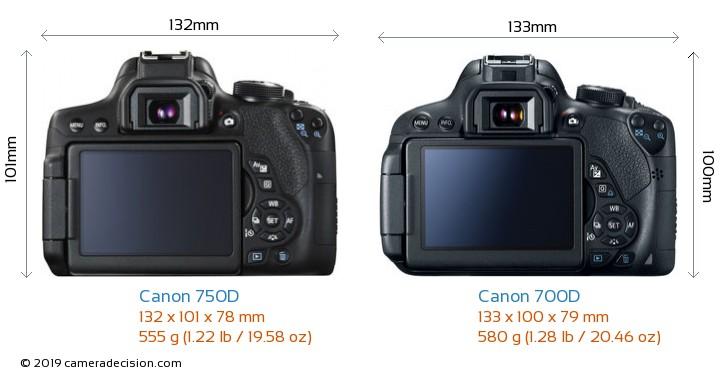Canon 750D vs Canon 700D Camera Size Comparison - Back View