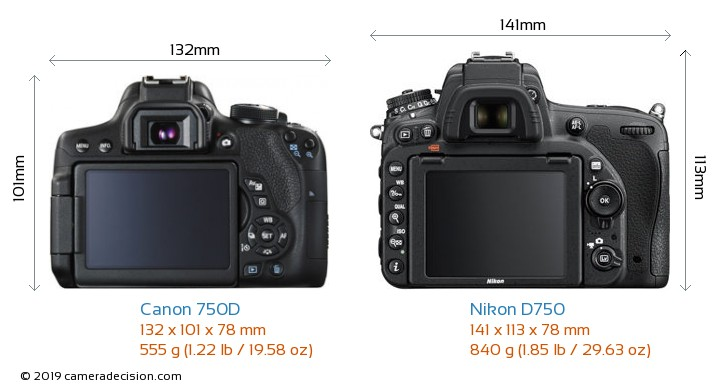 Canon 750D vs Nikon D750 Camera Size Comparison - Back View