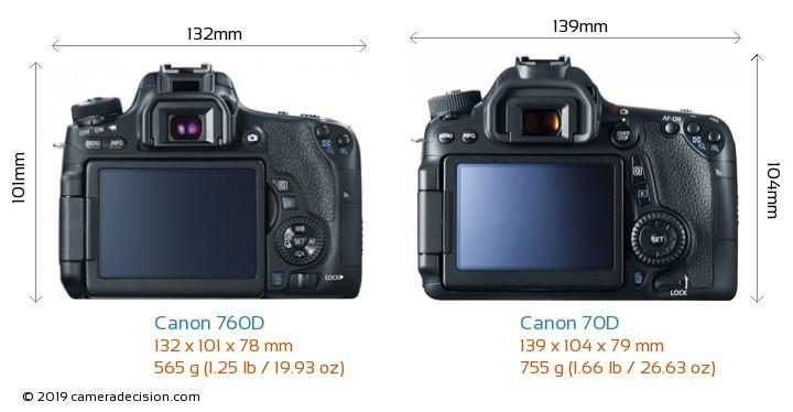 Canon 760D vs Canon 70D Camera Size Comparison - Back View