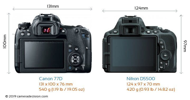 Canon 77D vs Nikon D5500 Camera Size Comparison - Back View