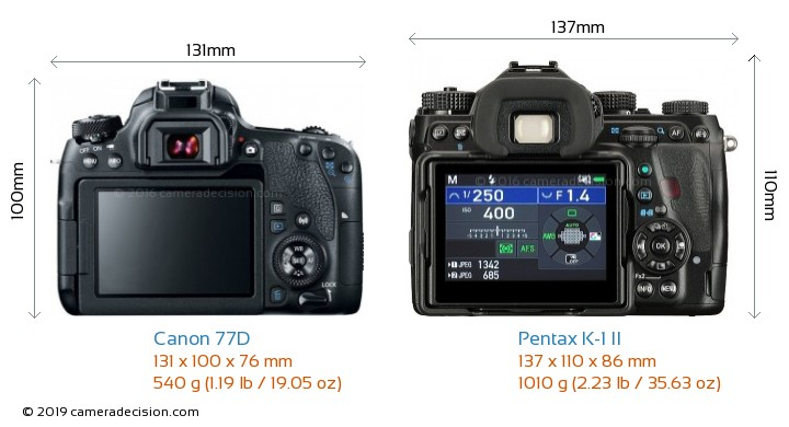 Canon 77D vs Pentax K-1 II Camera Size Comparison - Back View