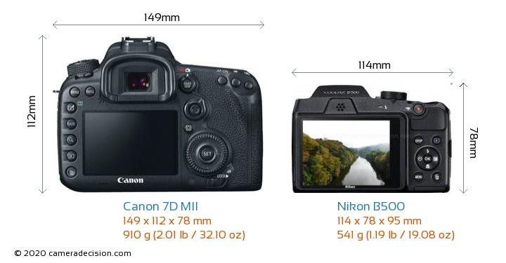 Canon 7D MII vs Nikon B500 Camera Size Comparison - Back View