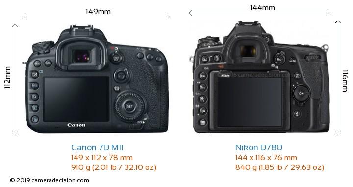 Canon 7D MII vs Nikon D780 Camera Size Comparison - Back View