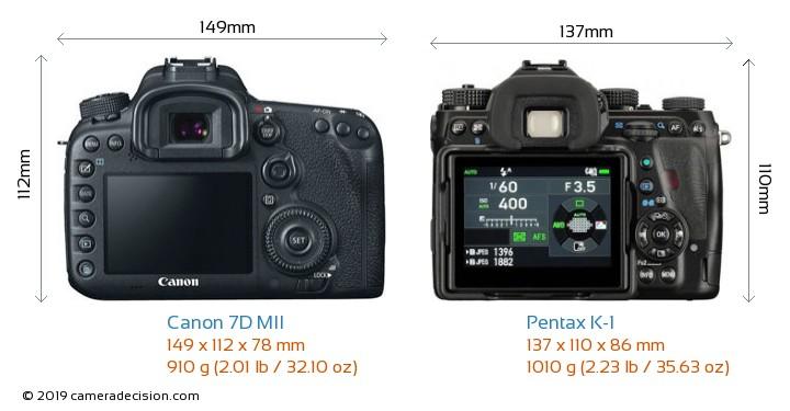 Canon 7D MII vs Pentax K-1 Camera Size Comparison - Back View