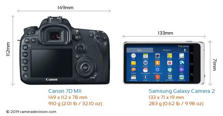 Canon 7D MII vs Samsung Galaxy Camera 2 Camera Size Comparison - Back View