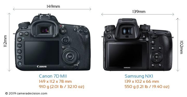 Canon 7D MII vs Samsung NX1 Camera Size Comparison - Back View