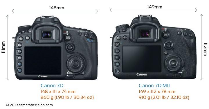 Canon 7D vs Canon 7D MII Camera Size Comparison - Back View