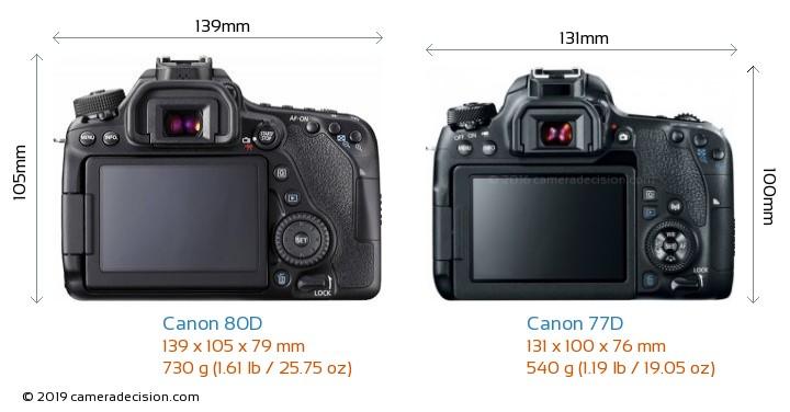 Canon 80D vs Canon 77D Camera Size Comparison - Back View