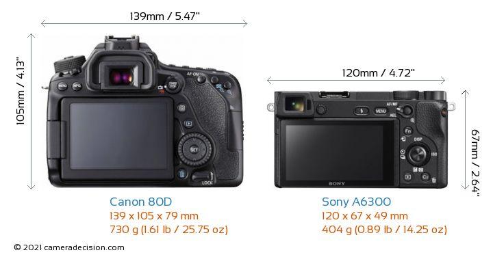 Canon 80D vs Sony A6300 Camera Size Comparison - Back View