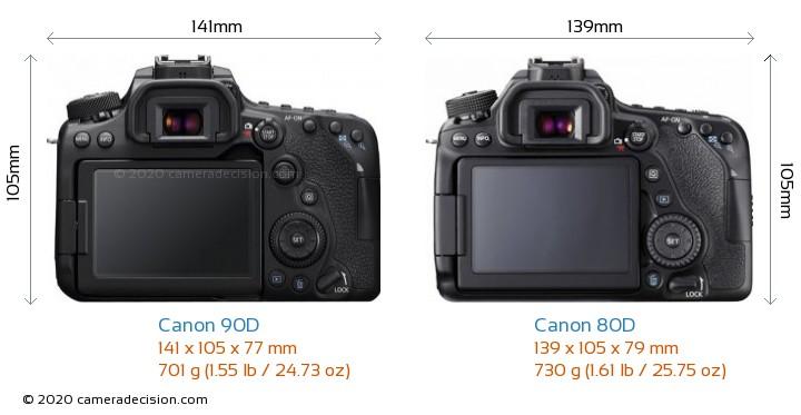 Canon 90D vs Canon 80D Camera Size Comparison - Back View