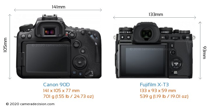 Canon 90D vs Fujifilm X-T3 Camera Size Comparison - Back View