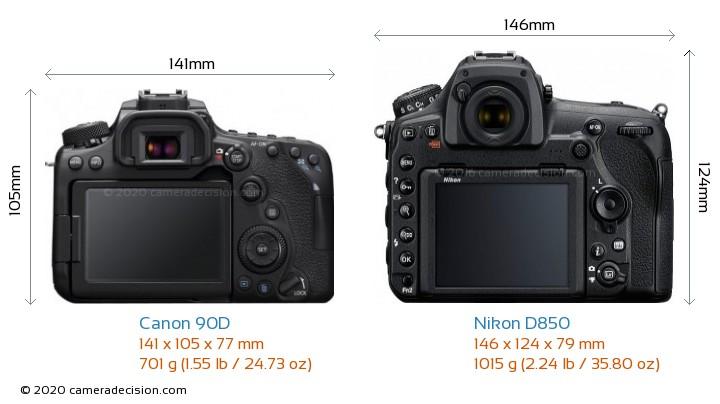 Canon 90D vs Nikon D850 Camera Size Comparison - Back View
