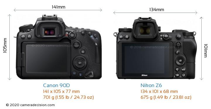 Canon 90D vs Nikon Z6 Camera Size Comparison - Back View