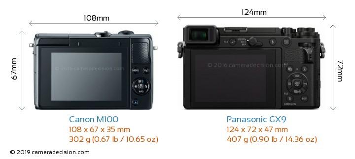 Canon M100 vs Panasonic GX9 Camera Size Comparison - Back View