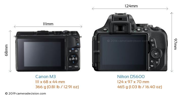 Canon M3 vs Nikon D5600 Camera Size Comparison - Back View
