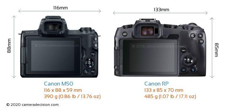 Canon M50 vs Canon RP Camera Size Comparison - Back View