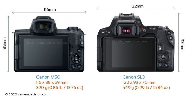 Canon M50 vs Canon SL3 Camera Size Comparison - Back View