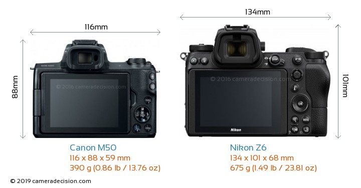 Canon M50 vs Nikon Z6 Camera Size Comparison - Back View