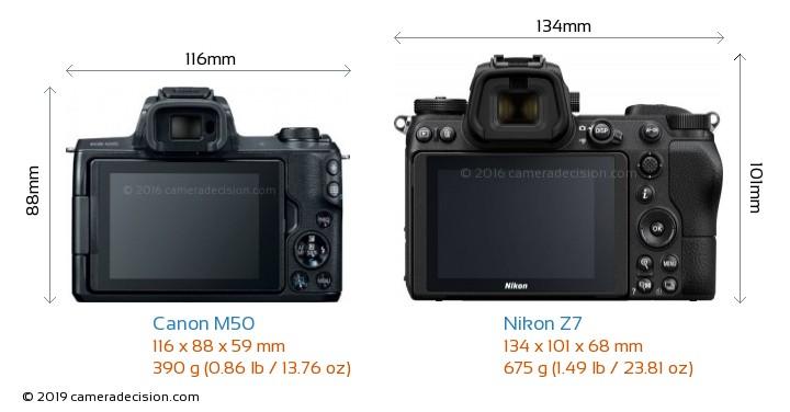Canon M50 vs Nikon Z7 Camera Size Comparison - Back View