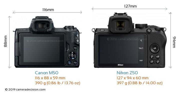 Canon M50 vs Nikon Z50 Camera Size Comparison - Back View