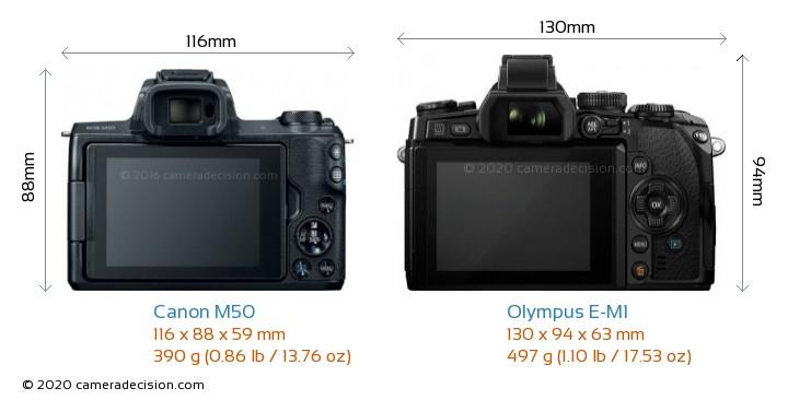 Canon M50 vs Olympus E-M1 Camera Size Comparison - Back View