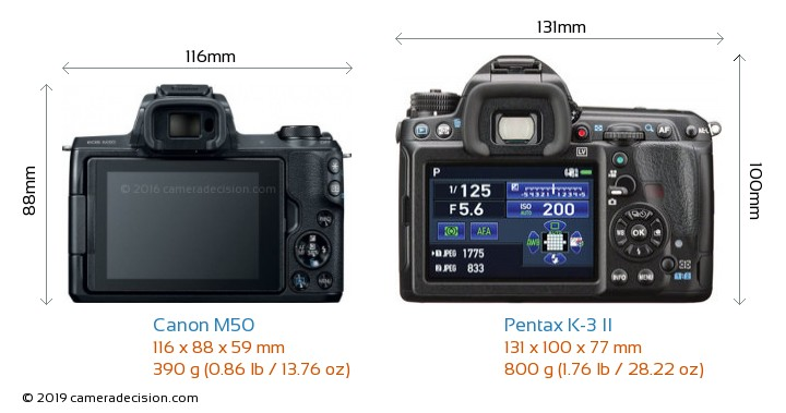 Canon M50 vs Pentax K-3 II Camera Size Comparison - Back View