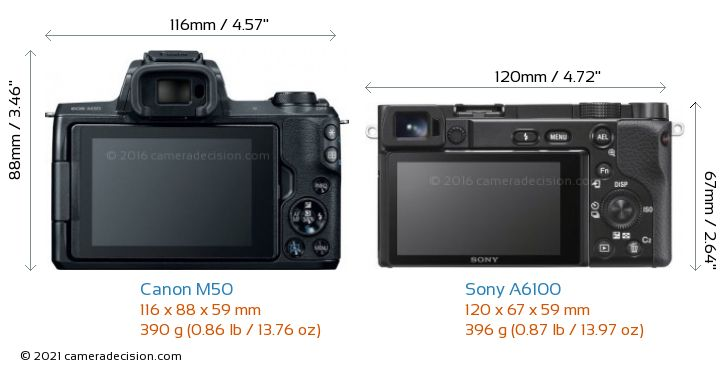 Canon M50 vs Sony A6100 Camera Size Comparison - Back View
