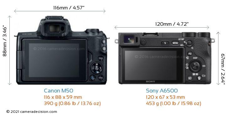 Canon M50 vs Sony A6500 Camera Size Comparison - Back View