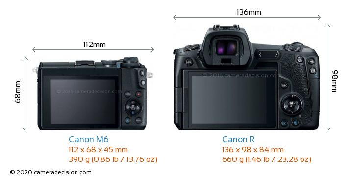 Canon M6 vs Canon R Camera Size Comparison - Back View