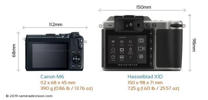 Canon M6 vs Hasselblad X1D Camera Size Comparison - Back View