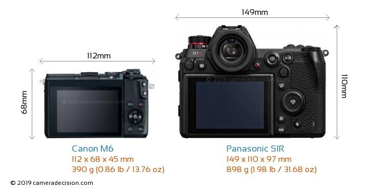 Canon M6 vs Panasonic S1R Camera Size Comparison - Back View